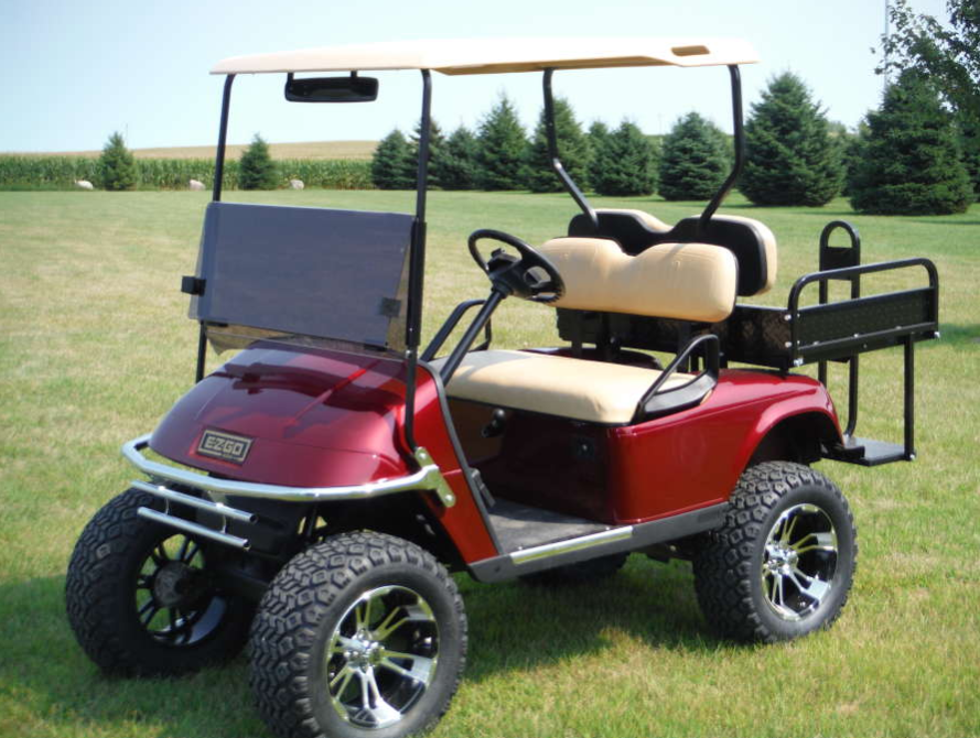Red Golf Cart with Custom Rims